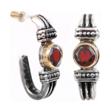 Silver and Gold Garnet Yemenite Earrings - Baltinester Jewelry