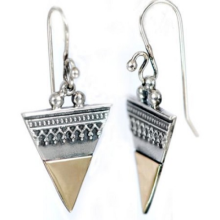 Silver and Gold Triangle Earrings - Baltinester Jewelry