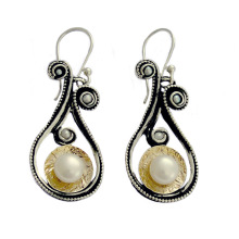 Oxidized Silver and Gold Dangle Earrings - Baltinester Jewelry