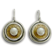 Silver and Gold Textured Pearl Earring Set - Baltinester Jewelry