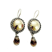 Silver and Gold Smoky Quartz Dangle Earrings - Baltinester Jewelry