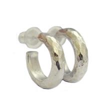 Sterling Silver Hammered Hoop Earrings - Baltinester Jewelry