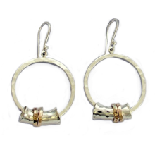 Hammered Silver and Gold Spinner Earring Set - Baltinester Jewelry