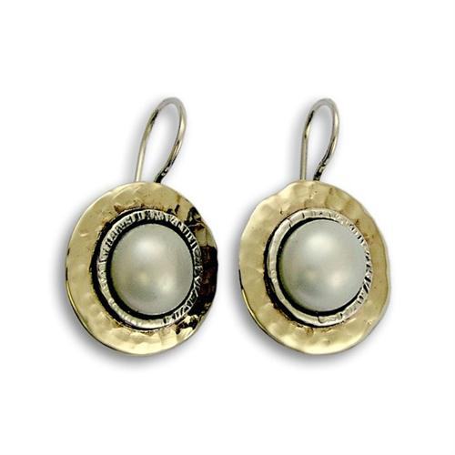 Hammered Silver and Gold Pearl Earrings - Baltinester Jewelry