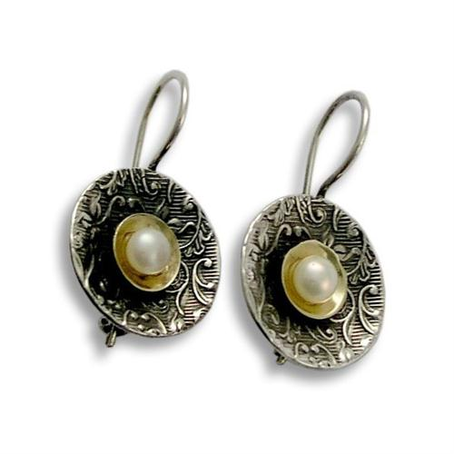 Silver Round Filigree Pearl Earrings - Baltinester Jewelry