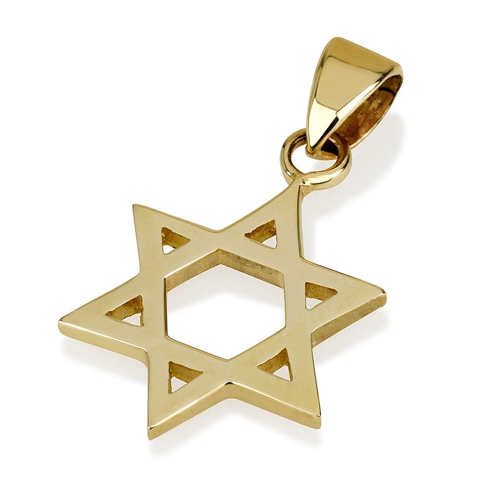 Classic 14k Yellow Gold Star of David Pendant Medium - Baltinester Jewelry