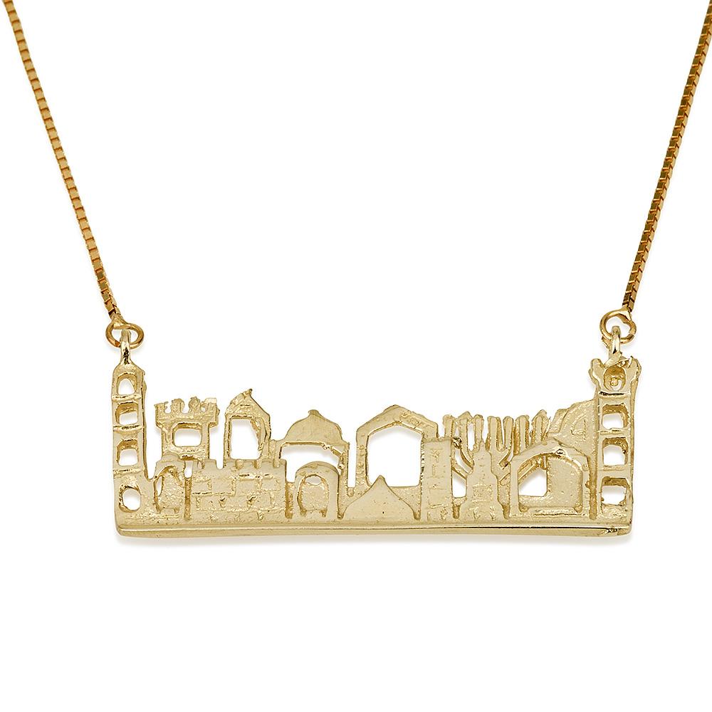City of Jerusalem Cutout 14k Yellow Gold Pendant - Baltinester Jewelry