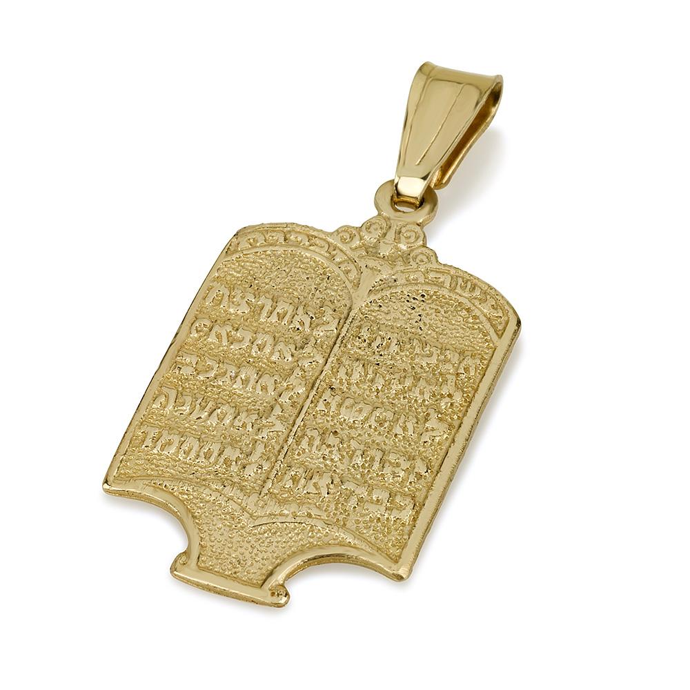 Torah Design Ten Commandments 14k Yellow Gold Pendant - Baltinester Jewelry