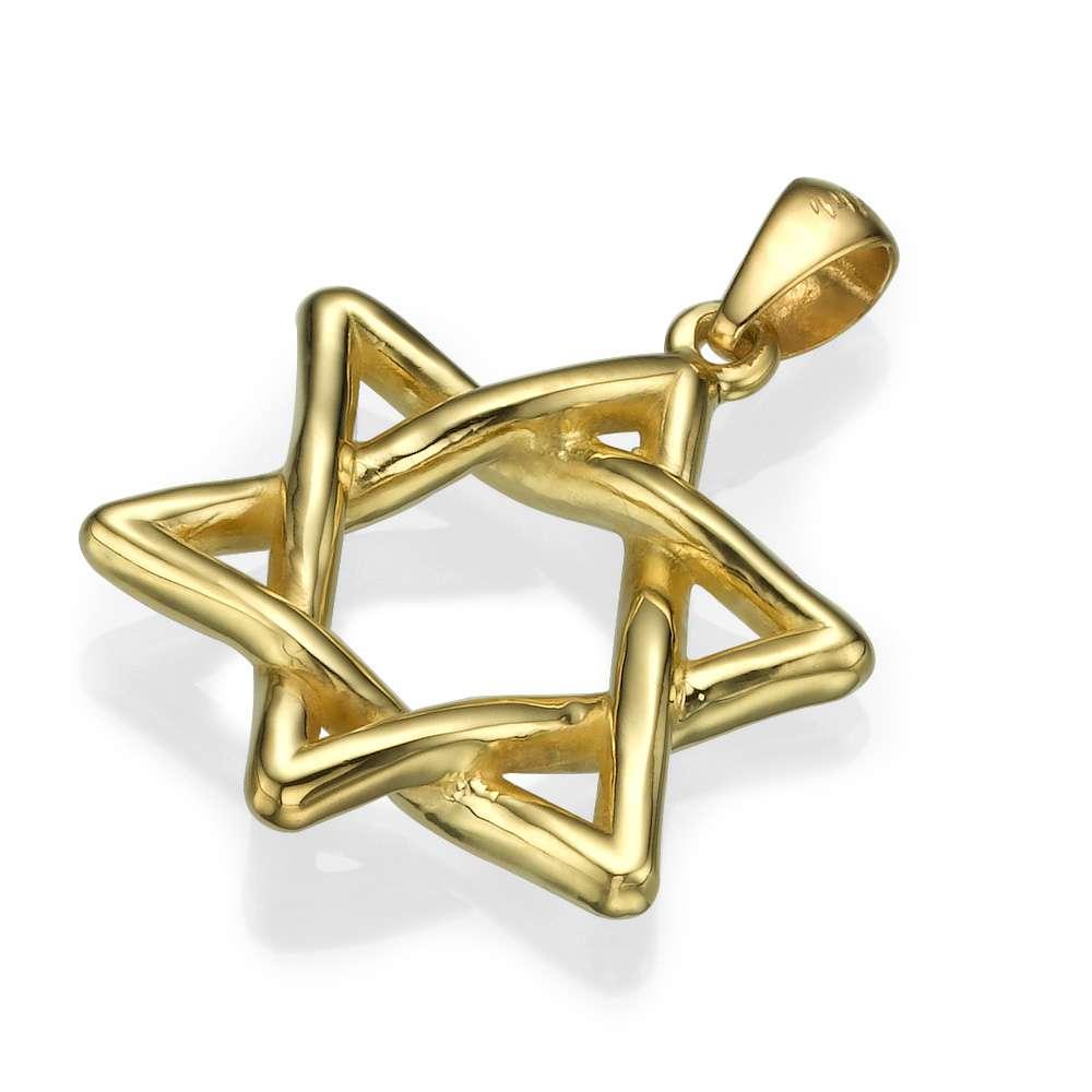 Wavy Star of David Pendant 14k Gold - Yellow Gold - Baltinester Jewelry
