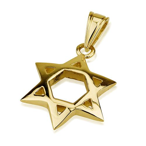 Shiny Domed 14k Gold Star of David Pendant - Baltinester Jewelry