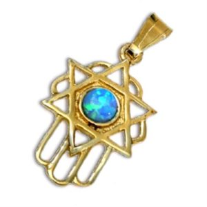 Blue Opal Hamsa Star of David 14k Gold Pendant - Baltinester Jewelry