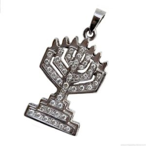 18k White Gold Diamond Menorah Pendant - Baltinester Jewelry