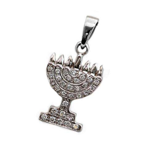 14k Gold Diamond Classic Menorah Pendant - White Gold - Baltinester Jewelry