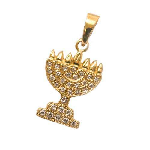 14k Gold Diamond Classic Menorah Pendant - Yellow Gold - Baltinester Jewelry