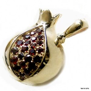 14k Yellow Gold Garnet Pomegranate Pendant - Baltinester Jewelry