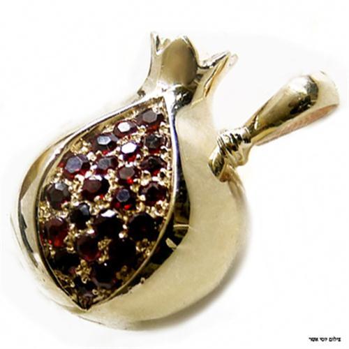 14k Yellow Gold Garnet Pomegranate Pendant - Baltinester Jewelry