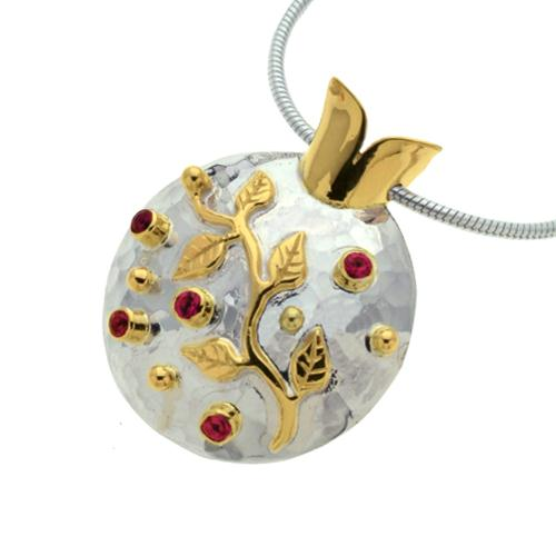 Silver and Gold Ruby Pomegranate Pendant - Baltinester Jewelry