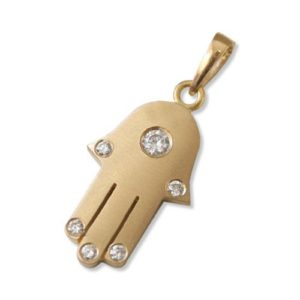 18k Matte Yellow Gold Diamond Hamsa Pendant - Baltinester Jewelry