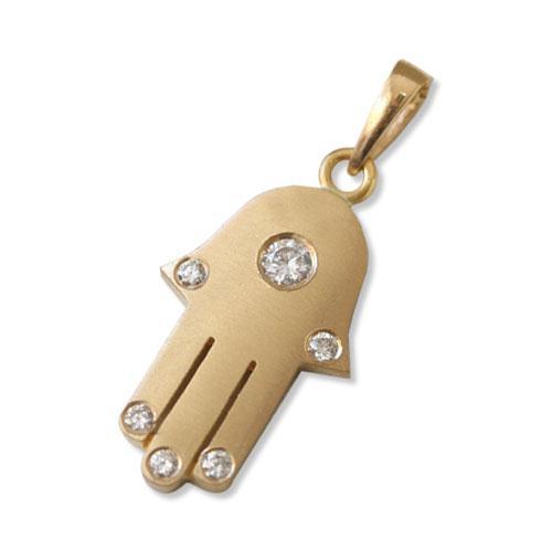 18k Matte Yellow Gold Diamond Hamsa Pendant - Baltinester Jewelry