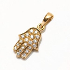 18k Yellow Gold Diamond Hamsa Pendant - Baltinester Jewelry