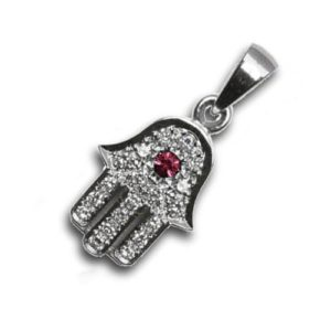 Diamond and Ruby 18k White Gold Hamsa Pendant - Baltinester Jewelry