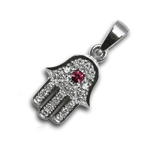 Diamond and Ruby 18k White Gold Hamsa Pendant - Baltinester Jewelry