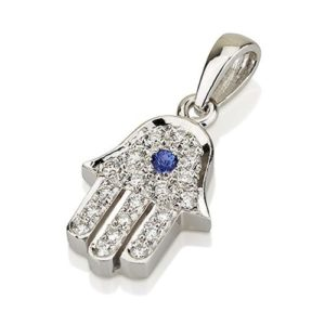 18k White Gold Diamond and Blue Sapphire Hamsa Pendant - Baltinester Jewelry