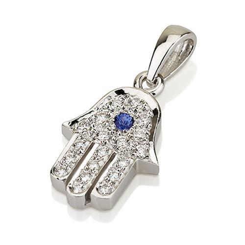 18k White Gold Diamond and Blue Sapphire Hamsa Pendant - Baltinester Jewelry