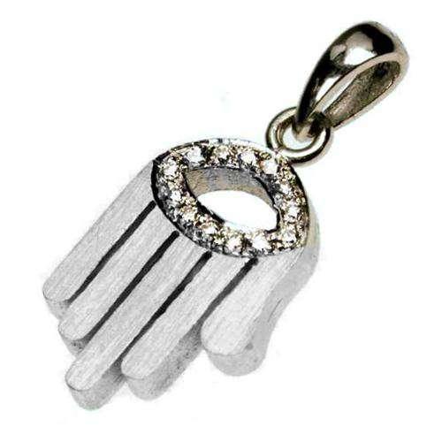 18k Gold Diamond Evil Eye Matte Hamsa Pendant - White Gold - Baltinester Jewelry