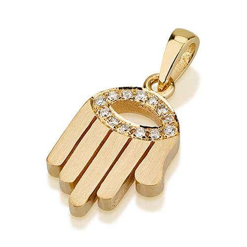 18k Gold Diamond Evil Eye Matte Hamsa Pendant - Yellow Gold - Baltinester Jewelry