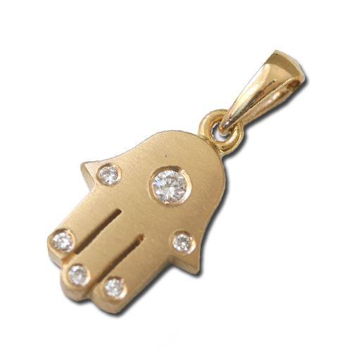 18k Brushed Gold Diamond Hamsa Pendant - Baltinester Jewelry