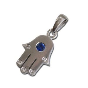18k White Gold Diamond and Sapphire Hamsa Pendant - Baltinester Jewelry