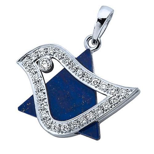18k White Gold Diamond Lapis Lazuli Dove Star of David Pendant - Baltinester Jewelry