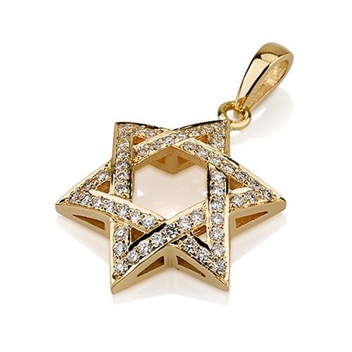 18k Gold Diamond Woven Star of David Pendant - Baltinester Jewelry