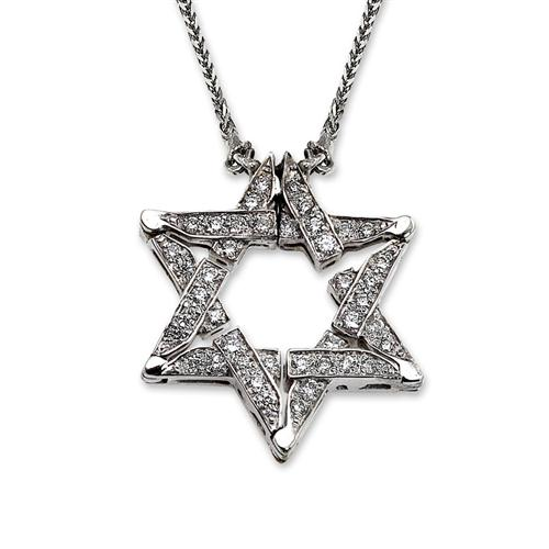 14k White Gold Diamond Butterfly Star of David Necklace - Baltinester Jewelry
