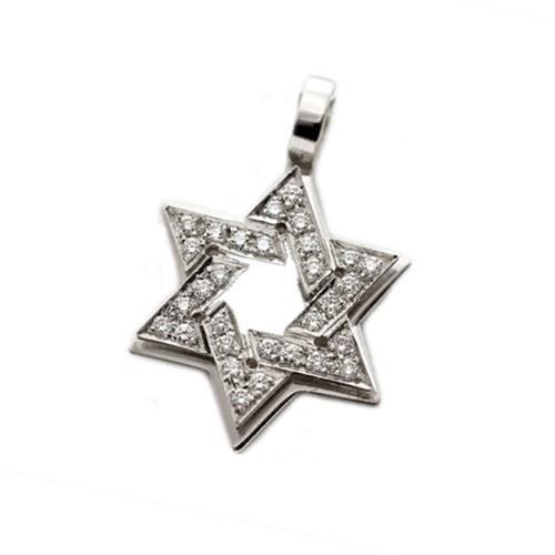 Dual Layer 18k White Gold Diamond Star of David Pendant - Baltinester Jewelry