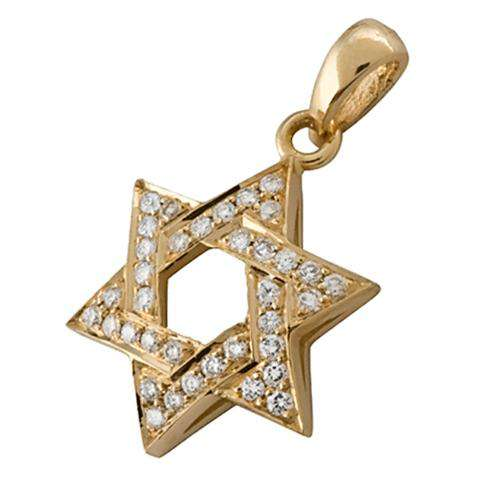 18k Gold Diamond Star of David Pendant - Yellow Gold - Baltinester Jewelry