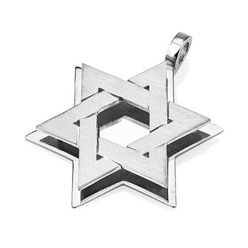 18k Gold Star of David Pendant - White Gold - Baltinester Jewelry