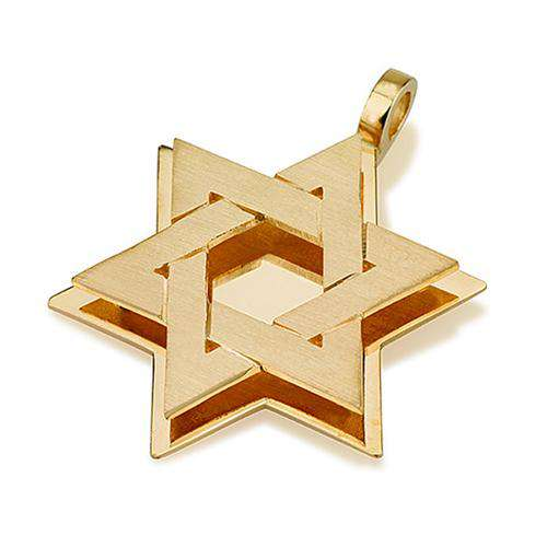 18k Gold Dual Layered Brushed Star of David Pendant - Yellow Gold - Baltinester Jewelry