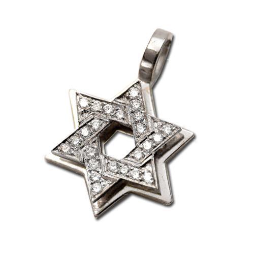 Small 18k White Gold Dual Layer Diamond Star of David Pendant - Baltinester Jewelry