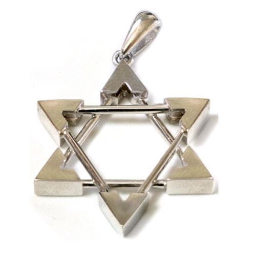 14k White Gold Framed Star of David Pendant - Baltinester Jewelry