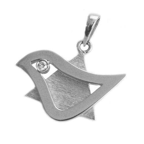 18k Gold Diamond Dove of Peace Star of David Pendant - White Gold - Baltinester Jewelry
