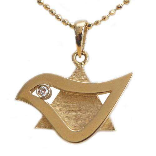 18k Gold Diamond Dove of Peace Star of David Pendant - Yellow Gold - Baltinester Jewelry