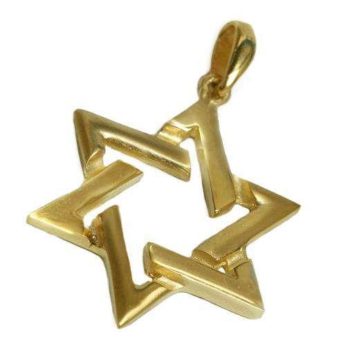 14k Gold Flat Cutout Star of David Pendant - Yellow Gold - Baltinester Jewelry