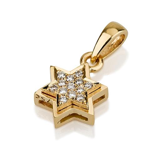 18k Yellow Gold Diamond Star of David Pendant - Baltinester Jewelry