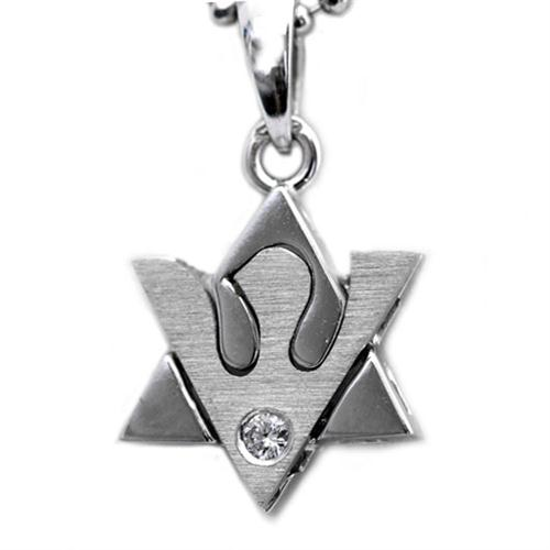 White Gold Brushed Shin Diamond Star of David Pendant - Baltinester Jewelry