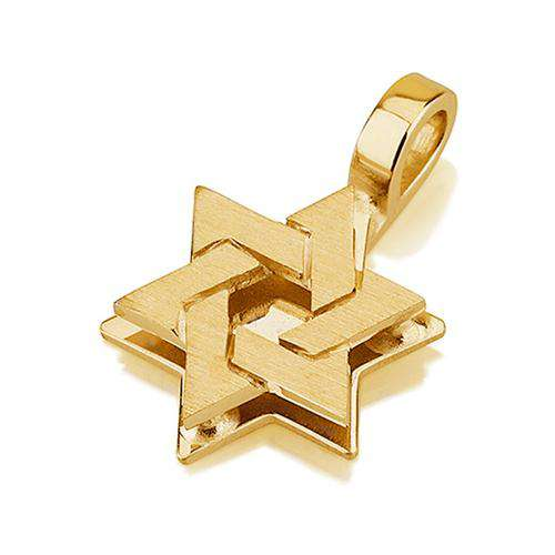 18k Gold Dual Layered Star of David Pendant - Yellow Gold - Baltinester Jewelry