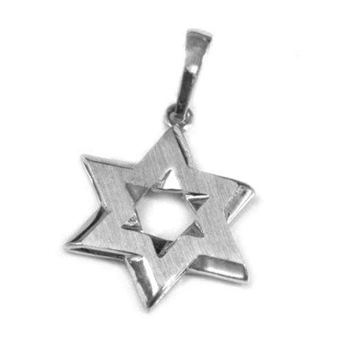 14k Gold Matte Star of David Pendant - White Gold - Baltinester Jewelry