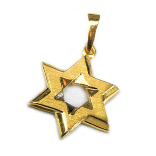 14k Gold Matte Star of David Pendant - Yellow Gold - Baltinester Jewelry