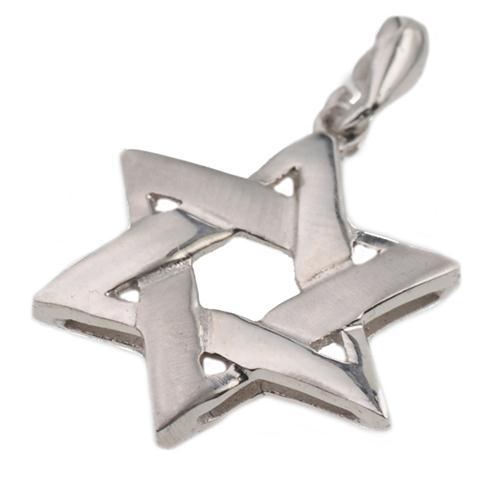 14K White Gold Brushed Star of David Pendant - Baltinester Jewelry